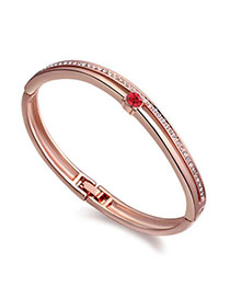 Order Light Red & Rose Gold Diamond Decorated Simple Design Alloy Crystal Bracelets