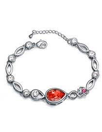Best Padparadscha Diamond Decorated Waterdrop Shape Design Alloy Crystal Bracelets