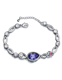 Slim Pinkish Purple Diamond Decorated Waterdrop Shape Design Alloy Crystal Bracelets