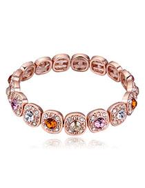 Sullen Multicolor Diamond Decorated Oval Shape Design Alloy Crystal Bracelets