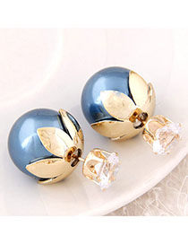 Electronic Blue Round Shape Decorated Simple Design Alloy Stud Earrings