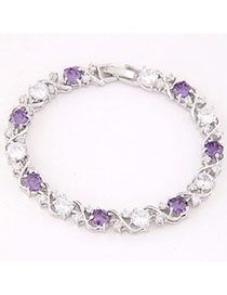 Heavy Purple & White Diamond Decorated Simple Design Zircon Fashion Bracelets