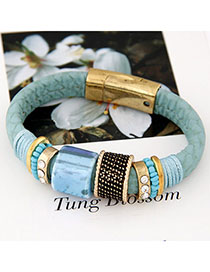 Fashionabl Blue Gemstone Decorated Simple Design Alloy Fashion Bracelets