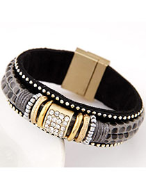 Claddagh Gray Diamond Decorated Double Layer Design Alloy Fashion Bracelets