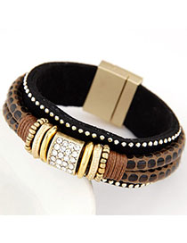 Tall Brown Diamond Decorated Double Layer Design Alloy Fashion Bracelets