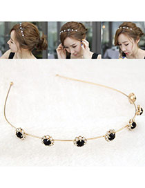 Graduated Black Diamond Decorated Flower Design Alloy Hair band hair hoop