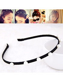 Fake Black & White Pearl Decorated Simple Design Alloy Hair Band Hair Hoop