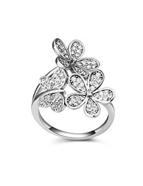 Patagonia White Diamond Decorated Butterfly Shape Design Zircon Crystal Rings