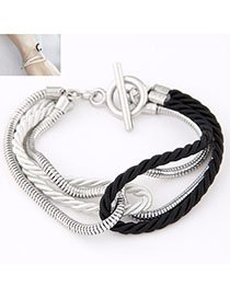 Outlook Black Chain Decorated Weave Design Alloy Korean Fashion Bracelet