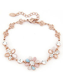 Luxurious Blue & Pink Diamond Decorated Flower Design Alloy Korean Fashion Bracelet