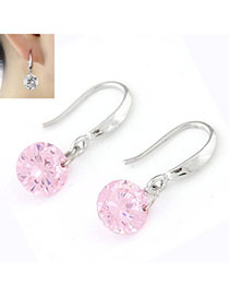 Corduroy Pink Diamond Decorated Simple Design Cuprum Korean Earrings