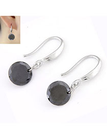 Memorial Gun Black Diamond Decorated Simple Design Cuprum Korean Earrings