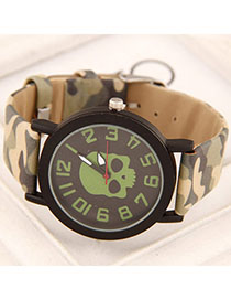 Cubic Green Skull Pattern Simple Design Alloy Ladies Watches