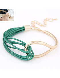 Bridesmaid Green Metal Decorated Multilayer Design Alloy Korean Fashion Bracelet
