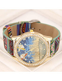 Monogram Multicolor Diamond Decorated Dragonfly Pattern Design Alloy Ladies Watches