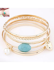 Dash Gold Color Heart Shape Decorated Multilayer Design Alloy Fashion Bangles