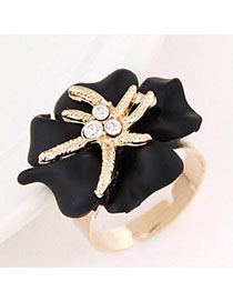 Dreamlike Black Diamond Decorated Flower Design Alloy Korean Rings