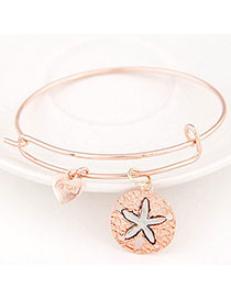 Cool Rose Gold Starfish Shape Decorated Simple Design Alloy Fashion Bangles