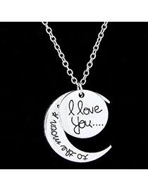 High Waist Silver Color Moon Shape Pendant Simple Design Alloy Chains