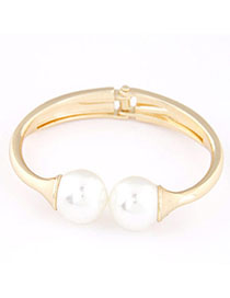 Ruffled Gold Color Pearl Decorated Simple Design Alloy Fashion Bangles