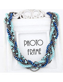 Collar Blue Gemstone Decorated Weave Design Alloy Beaded Necklaces