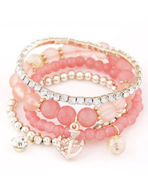 Juniors Pink Diamond Decorated Multilayer Design Alloy Korean Fashion Bracelet