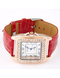 Girls Red Diamond Decorated Square Shape Design Alloy Ladies Watches