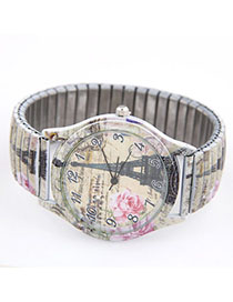 Friendship Multicolor Flower Pattern Decorated Simple Design Alloy Ladies Watches