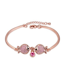 Art Light Plum Red & Rose Gold Diamond Decorated Fish Design Alloy Crystal Bracelets