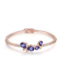 Hip Hop Pinkish Purple & Rose Gold Diamond Decorated Butterfly Design Alloy Crystal Bracelets