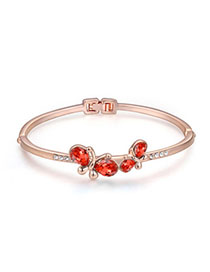 Floating Padparadscha & Rose Gold Diamond Decorated Butterfly Design Alloy Crystal Bracelets