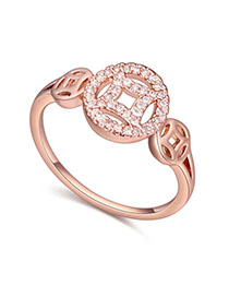 Chunky White & Rose Gold Diamond Decorated Hollow Out Design Zircon Crystal Rings