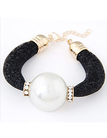 Hiking Black Pearl Decorated Simple Design Alloy Korean Fashion Bracelet