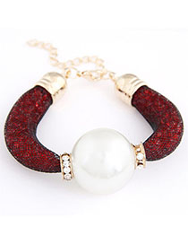 Teen Red Pearl Decorated Simple Design Alloy Korean Fashion Bracelet