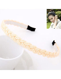 Recycled Beige Beads Decorated Weave Design Alloy Hair Band Hair Hoop