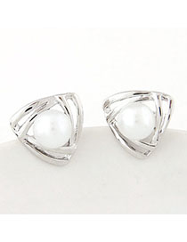 Beige Silver Color Pearl Decorated Triangle Shape Design Alloy Stud Earrings