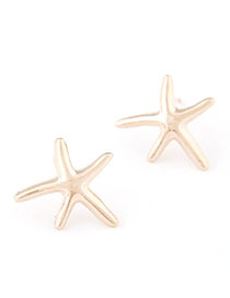 Kinetic Gold Color Starfish Shape Simple Design Alloy Stud Earrings