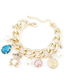 Waist Blue Diamond Decorated Multi-element Design Alloy Korean Fashion Bracelet