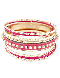 Waist Plum Red Diamond Decorated Multilayer Design Alloy Fashion Bangles