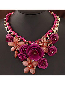 Doggie Plum Red Gemstone Decorated Flower Design Alloy Bib Necklaces