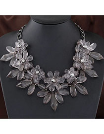 Hemp Gray Flower Shape Decorated Simple Design Alloy Bib Necklaces