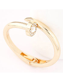 Fancy Gold Color Diamond Decorated Rivet Shape Design Alloy Fashion Bangles
