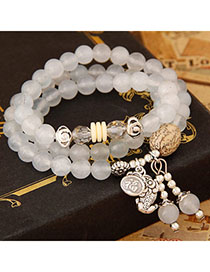 Deathly White Beads Decorated Multilayer Design Alloy Fashion Bracelets
