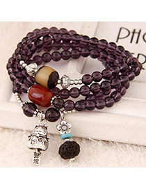 Jogging Purple Beads Decorated Cat Shape Multilayer Design Alloy Fashion Bracelets