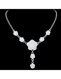 2011 White Flower Shape Decorated Simple Design Alloy Bib Necklaces