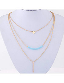 Promise Gold Color Triangle Shape Decorated Multilayer Design Alloy Chains