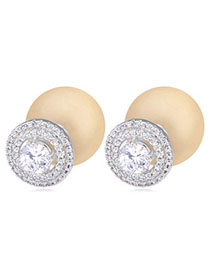 Invitation Light Yellow Diamond Decorated Hollow Out Design Zircon Crystal Earrings