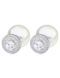 Renaissanc White Diamond Decorated Hollow Out Design Zircon Crystal Earrings