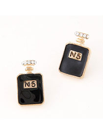 Wholesale Black Diamond Decorated Perfume Bottles Shape Design Alloy Stud Earrings