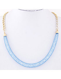 Beautiful Navy Blue Chain Shape Decorated Simple Design Alloy Korean Necklaces